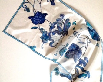 Blue silk scarf for woman hand painted silk scarf in white and blue silk ponge