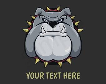 Bulldog Custom T-Shirt - Men Women Youth Long Sleeve Personalized Tee bull dog angry head