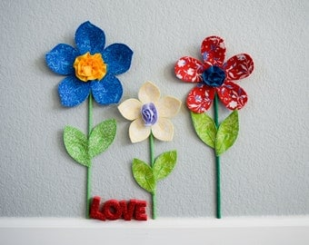 flower wall decal- girls room nursery decor- fabric wall flowers- 3d wall decor- flower wall- fabric flower- spring garden