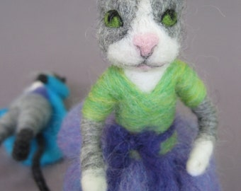 Needle Felted animal, Cat Girl, Waldorf toy, white gray cat, felted doll, needle felted kitten, decoration, posable toy, MADE to order