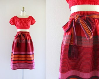 woven cotton belted skirt