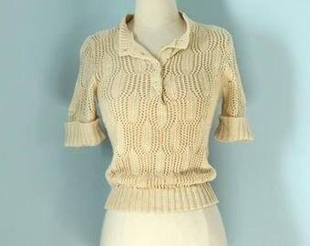 SALE 1970s Pierre Cardin Open Weave Sweater / 1970s Ivory Knit Sweater