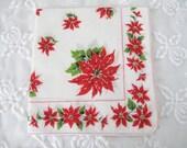 Vintage Christmas Handkerchief, Ladies Cotton Linen Hankie/Tea Napkin with Red Poinsettias, ECS, FREE Shipping