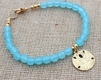 Blue Bracelet Womens with Gold Sand Dollar Charm