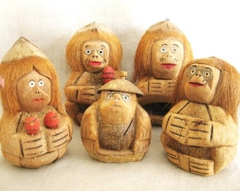 Vintage Coconut Carvings, Figures, Collection, Group, Musical, Musicians, Mid-Century, Handmade, Souvenir, Grouping, Tiki Bar, Tropical