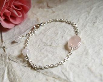 Soft Pink Rose Quartz Gems Bracelet, Sterling Silver Bracelet, Wedding Gift, Bridesmaid Gift