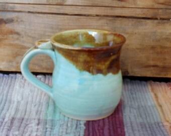 Green with brown rim handmade pottery mug - 12 oz mug - ceramic coffee mug - ceramic cup - pottery tea cup - handmade mug - mgr2613
