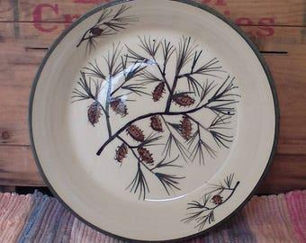 Rustic northwoods style ceramic low serving bowl - pottery bowl - ceramic bowl - pottery baker handpainted in pinecones - pc07