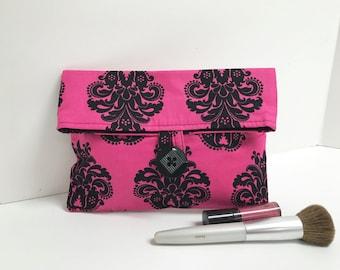 Hot Pink Bridesmaid Gift, Makeup Bag, Damask Clutch, Pink and Black