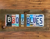 BBQ & BLUES license plate sign tomboyART art and recycled upcycled pig BBQ tomboyART tomboy art SouL FooD