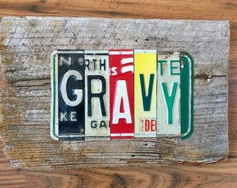 GRAVY license plate sign tomboyART art recycled upcycled pig BBQ tomboyART tomboy art SOUL FooD
