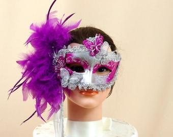 Silver and Purple Mask * Feather Mask * Masquerade Mask * Costume Mask * Mardi Gras Mask * Halloween Mask * Silver Mask * Party Mask
