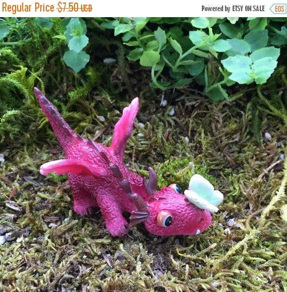 SALE Mini Red Dragon With Butterfly Figurine, Fairy Garden Accessory, Garden Decor, Enchanted Story, Topper, Shelf Sitter