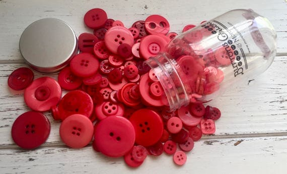 """Hand Dyed Buttons, """"Big Apple"""", Mixed Buttons, 200 Buttons, Plastic Mini Mason Jar by Buttons Galore, 2 & 4 Hole Assortment"""