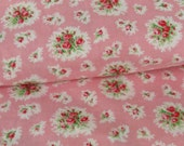 """Vintage Pink Roses Pink Floral Cotton Print Fabric 2 yards 34""""wide"""