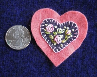 Embroidered floral wool felt heart ornament/pin - salmon pink with dark heather purple and pink roses