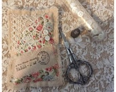 Handmade lavender sachet vintage style french lace mother of pearl buttons by olive grove primitives
