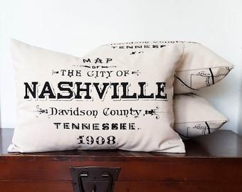 "Nashville Tennessee Pillow 14"" x 20"" Lumbar Cotton Canvas Cabin Rustic Decor Washable Wholesale Vintage Style City Map"