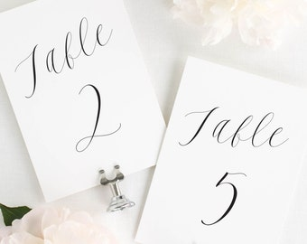 """Ethereal Calligraphy Table Numbers - 4x6"""""""