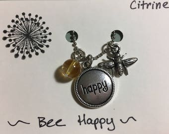 Bee Happy adjustable Charm Necklace