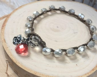 Boho style Crocheted White Pearl Bracelet - Rustic wedding Bracelet - Sterling Cherry Blossom -  Stacking Bracelet