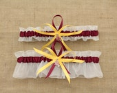 Wedding Garter Set with Arizona State University Colors, Bridal Garter Set  (Your Choice, Single or Set)