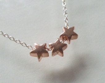 2 pcs, 5x3mm, Rose Gold over Sterling Silver Tiny Star Pendant Connector, Choker Charm, Minimalist Findings Collection, PC-0141