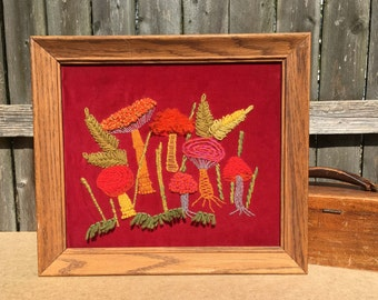 Orange Toadstools - 1970 Crewel Work on Velvet