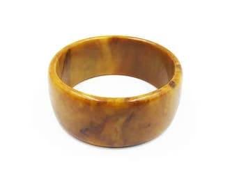 Mississippi Mud Bakelite Wide Bangle Bracelet - Vintage Bracelet, Bangle Bracelet, Bakelite Bangle, Yellow Brown, Vintage Jewelry