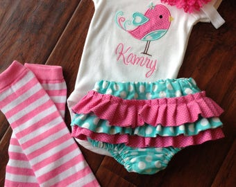 Ruffled Diaper Cover- Diaper Cover Set- Personalized Bird bodysuit and Diaper Cover Set- Ruffled Diaper Cover set