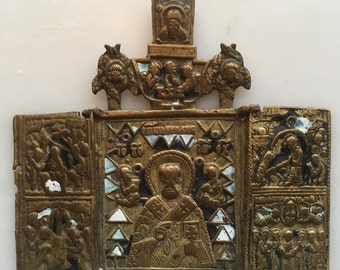 Antique Russian Orthodox Bronze and Enamel Folding Triptych Icon