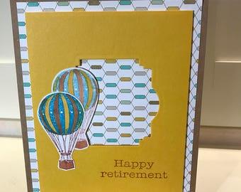 Happy Retirement hot air balloons greeting card