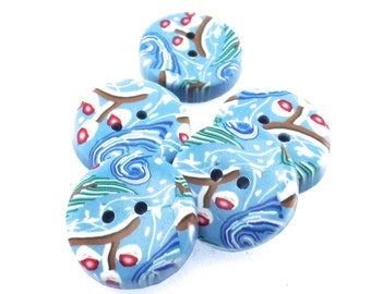 Colorful Handmade Polymer Clay Buttons 3/4 inch, Winter Forest