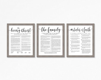 LDS-Family Proclamation-Living Christ & Articles of Faith set-Black Text-Multiple Sizes available-digital files-LDS poster printables