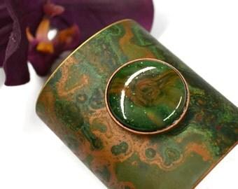 Green Metal Cuff Bracelet, Fused Glass, Patina Copper, Brass, Boho Bracelet