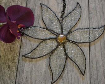 Stained Glass Flower Sun Catcher, Window Decor, Suncatcher, Glass Flower, Gardeners Gift, Orange