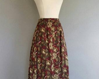 Vintage FLORAL Print Pleated SILK Skirt (xs)