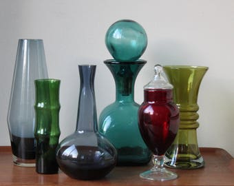 Instant Collection of Mid Century Modern Colored Glass Vase, Decanter, Scandinavian, Unidentified. Set of 6, Vintage, Home Decor