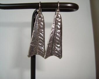 Beautiful Handmade Lampwork Glass Earrings on Sterling Silver Ear Wires - Handmade  Blue, White, Tan Shades, Distinctive Design