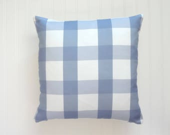 Blue Check Pillow Cover, Designer Fabric Pillow Cover, Checkered, Various Sizes
