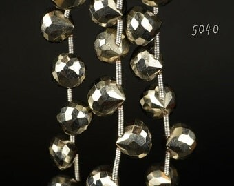 ON SALE Silver Pyrite Onion Briolettes, Candy Kisses, Coated Pyrite Onions, Faceted - 1/2 Strand - 8.5 to 9mm - 9 Beads