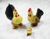 Vintage Hagen Renaker Rooster Hen Chick Chicken Family Miniature Farm Barn Animals Porcelain Figurine Lot