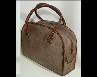 Reptile grain brown leather carry on suitcase ~ with whipstitched handles ~ made in Canada ~ doctor bag satchel ~ weekender