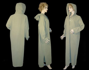 Color Me Cotton long sage green duster coat ~ Small Medium Large ~ full length button up cardigan dashiki with hood ~ Made in USA as new