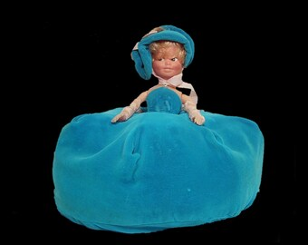 Aqua blue velvet half doll bag ~ 1960s 60s sleepover holdall ~ zip up cushion ~ Hong Kong ~ pouffy sleeveless gown dress hat & bow pearl