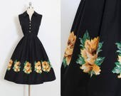 Vintage 50s Dress | 1950s yellow rose print dress | cotton shirt dress | xs/s | 5938