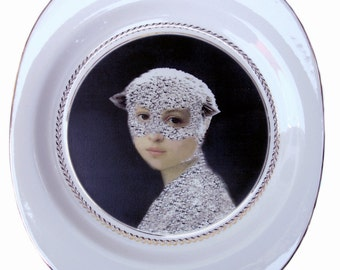 Sale - damaged - Mary Was a Little Lamb - Altered Vintage Plate 14""