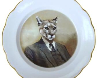 "Colin the Cougar Portrait Plate - 9.5"""