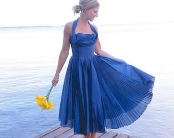 SALE 50s Dress, 1950s Circle Skirt Dress, Rockabilly Dress, 50s Party Dress, Bridesmaid Dress, Blue Halter Shelf Bust VLV Dress, XS