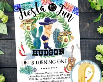 Fiesta Birthday Party Invitation, Fiesta Invitation, First Birthday Party Invitation, Fiesta and Fun, DIY, Printed or Printable Invitations
